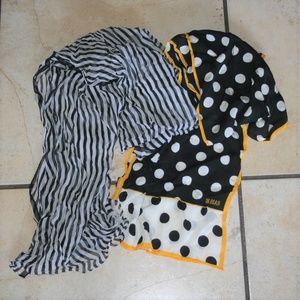 2 Long Silk Neck Scarves Ann Taylor Bill Blass